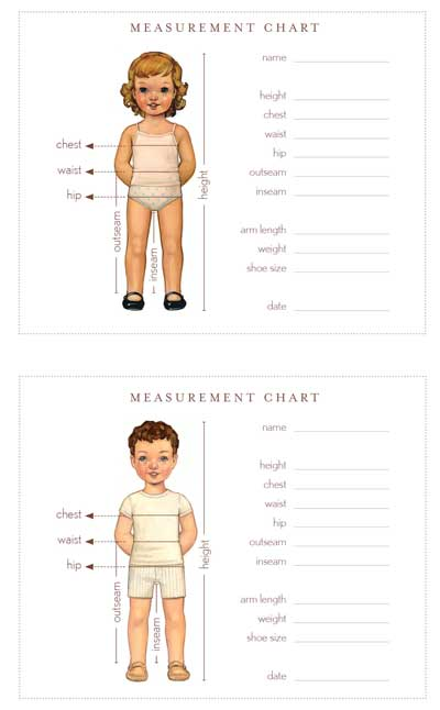 Oliver + S Measurement Chart