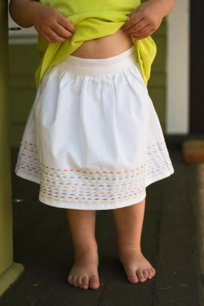 Skirt with running stitch
