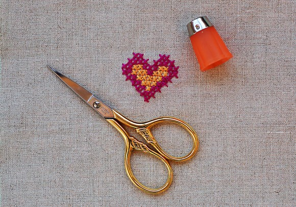 Heart Cross-Stitch Pattern Done with Waste Canvas