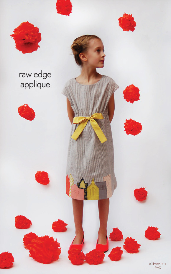 Raw edge applique on the Oliver + S Roller Skate dress