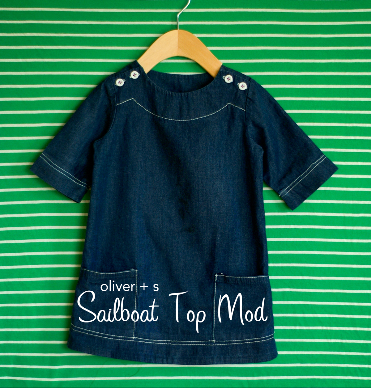 topstitched denim sailboat dress tutorial