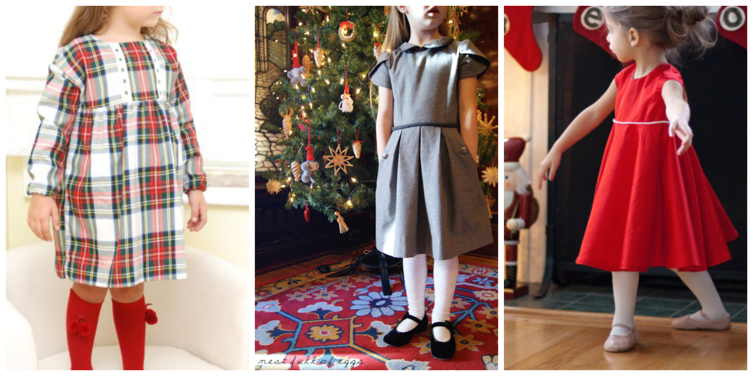 three girls in their oliver + s holiday dresses