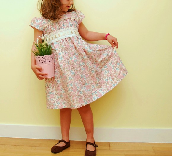 Oliver + S Garden Party Dress with white eyelet trim
