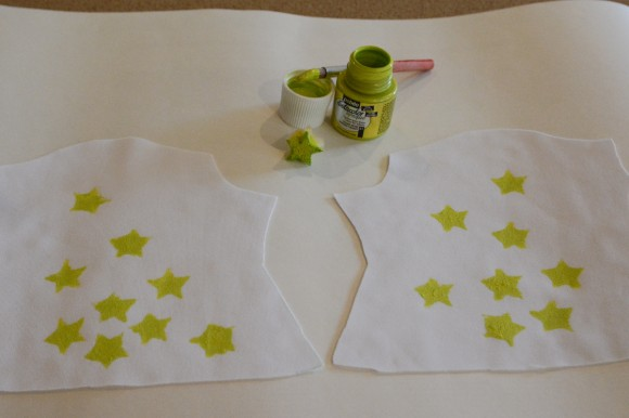 Stamping the foam star stamp onto the fabric