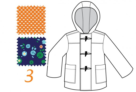 School Days Coat in Lily Pond and Orange Frogs