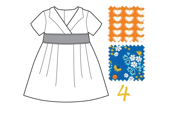 Library Dress in Blue Meadow Blossoms and Orange Lotus Drop