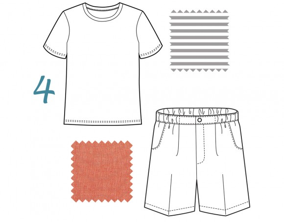 school bus tee and sketchbook shorts
