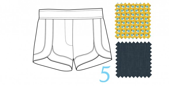 Class Picnic Shorts in Gold Snail Trail and Indigo Union Chambray