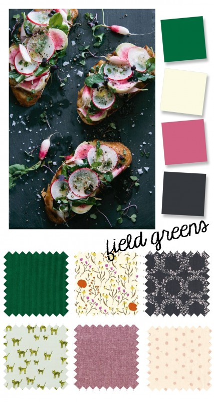 color palette: radish and field green