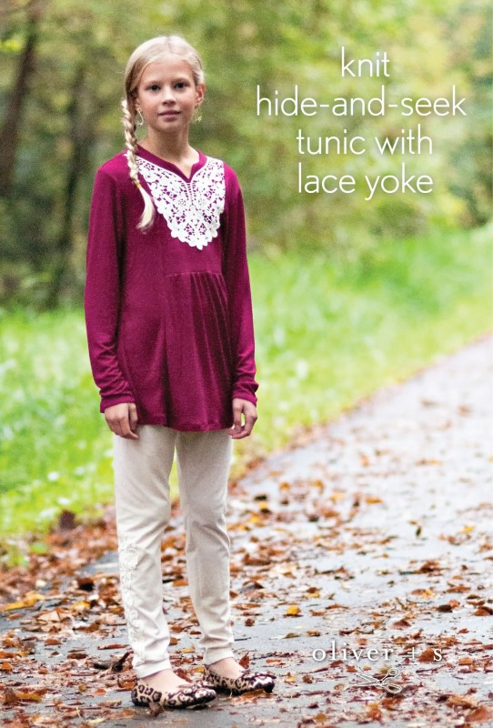 Knit Oliver + S Hide-and-Seek Tunic with lace yoke