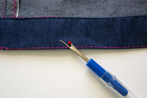 Remove basting stitches
