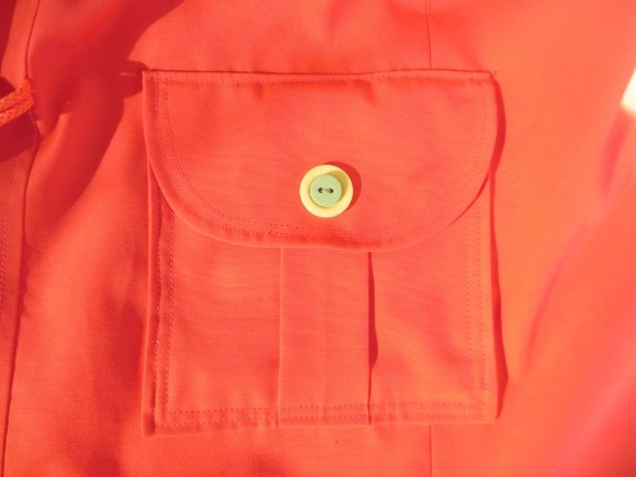 Pleated pocket with flap and stacked buttons on School Days Jacket