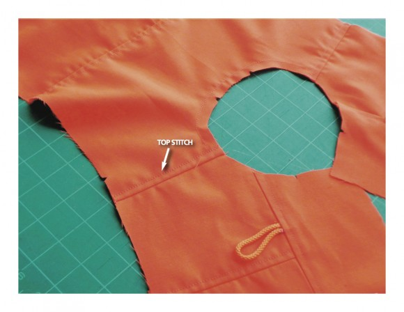 Topstitched shoulder seam on School Days Jacket