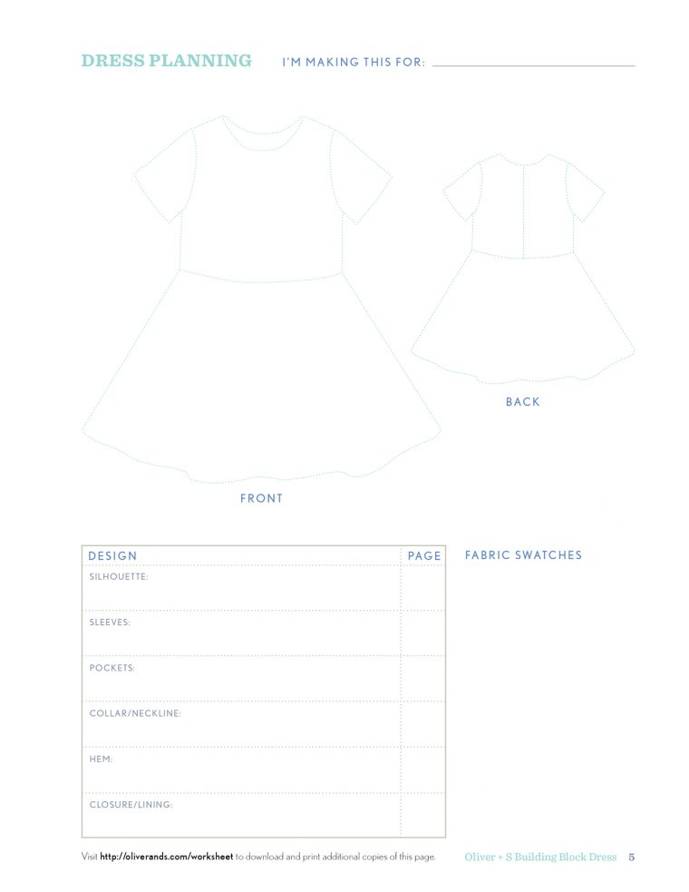 Building Block Dress Worksheet