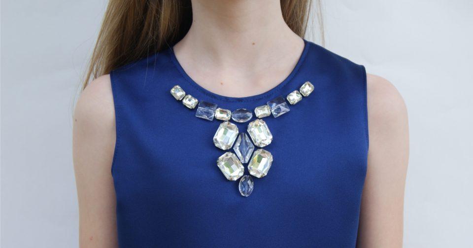 Jeweled neckline on the Oliver + S Building Block Dress