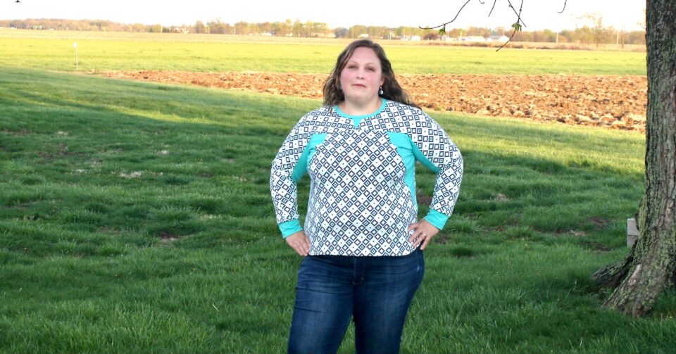 Sharon's DIY sweatshirt is a shoulder-season staple.