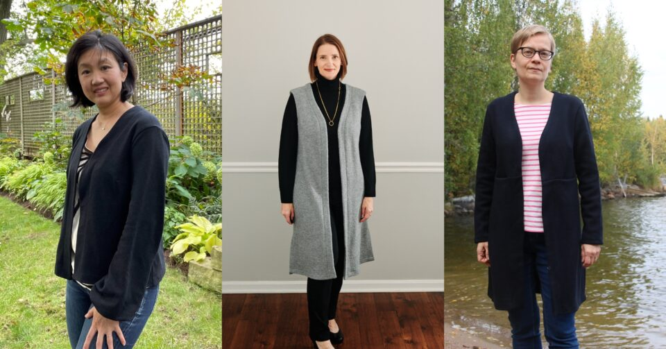 Our Advisors Circle sews up the brand new Melville Cardigan + Vest pattern.