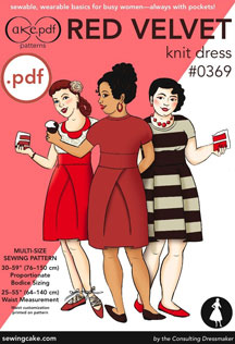 digital red velvet knit dress sewing pattern