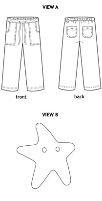 sandbox pants + starfish stencil sewing pattern