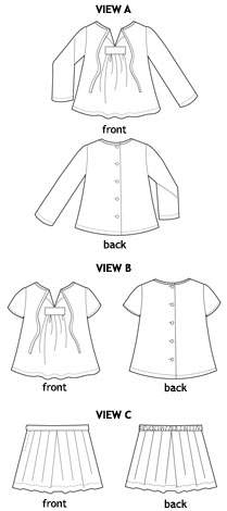 2+2 blouse + pleated skirt sewing pattern