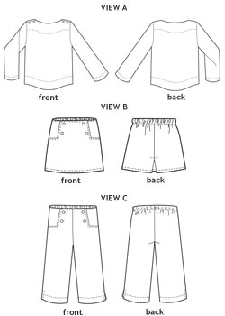 sailboat top, skirt + pants sewing pattern