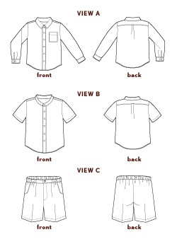 digital sketchbook shirt + shorts sewing pattern