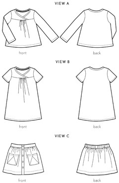 digital hopscotch skirt, knit top, + dress sewing pattern
