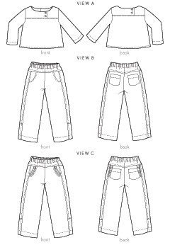 digital after school shirt + pants sewing pattern
