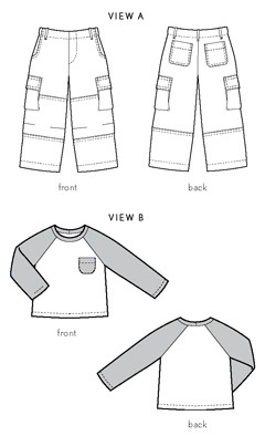 field trip cargo pants + raglan t-shirt sewing pattern