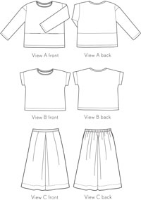digital lunch box tee + culottes sewing pattern