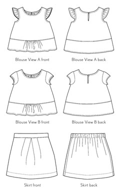 digital butterfly blouse + skirt sewing pattern