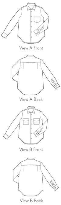 digital buttoned-up button-down shirt sewing pattern